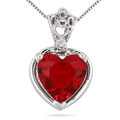10MM Heart Shape Lab Created Ruby and Genuine Diamond Pendant in .925 Sterling Silver