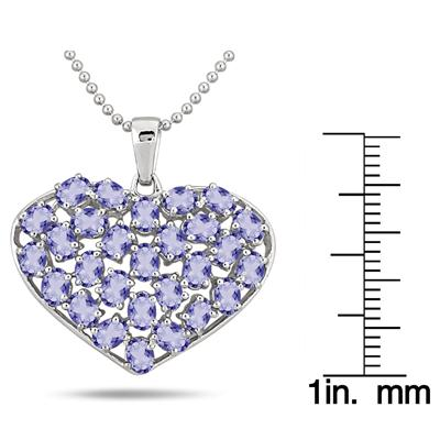4.20 Carat Oval Shape Tanzanite Heart Pendant in .925 Sterling Silver
