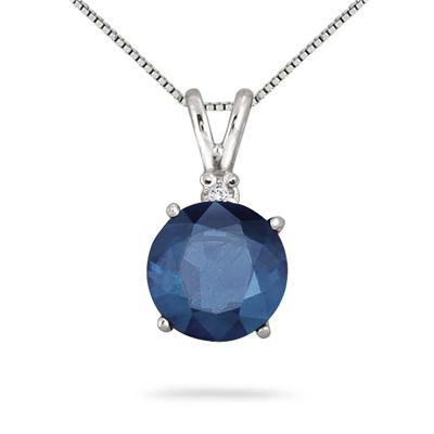 7MM Lab Created Sapphire and Diamond Pendant in .925 Sterling Silver