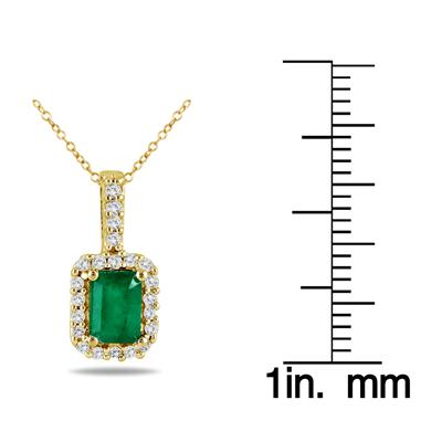 1/10 Carat Diamond and Emerald Pendant in 10K Yellow Gold