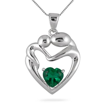6MM Created Emerald Heart Mother and Baby Pendant in .925 Sterling Silver