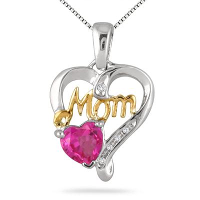 6MM Pink Topaz and Diamond MOM Pendant .925 Sterling Silver