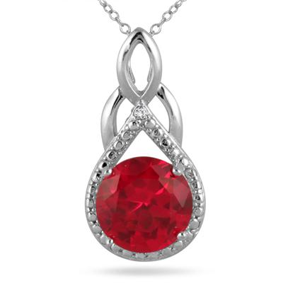 10MM Created Ruby and Diamond Pendant in .925 Sterling Silver