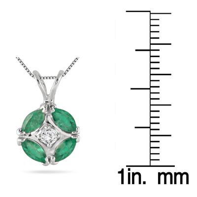 1.75 Carat Genuine Emerald and Diamond Pendant in .925 Sterling Silver