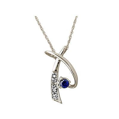 Sapphire Pendant in 14kt White Gold