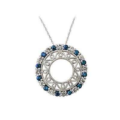 Sapphire and Diamond  Circle Pendant in 14K White Gold