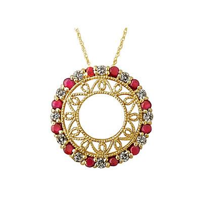 Diamond and Ruby Circle Pendant in 14K Yellow Gold