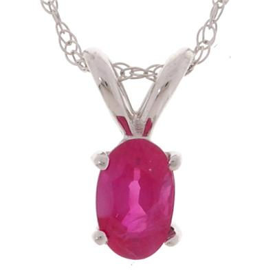 Oval 6x4mm Ruby Pendant in 14kt White Gold