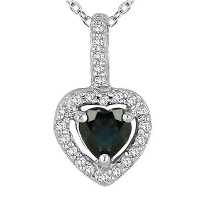 10k White Gold Diamond and Sapphire Pendant