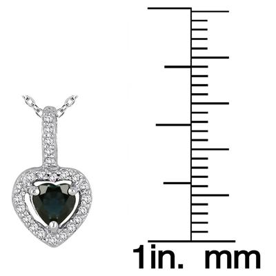 10k White Gold Diamond and Sapphire Pendant