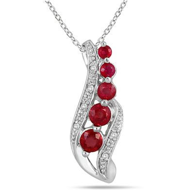 14k White Gold Diamond and Ruby Drop Pendant