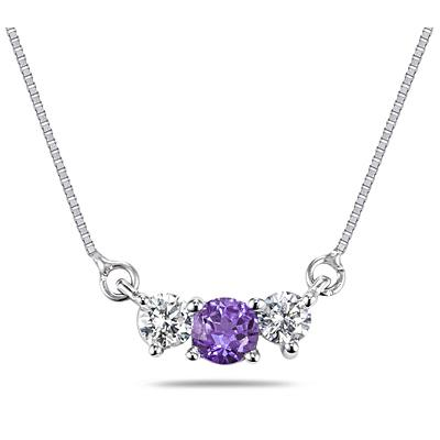 Amethyst and Diamond Three Stone Pendant in 14K White Gold