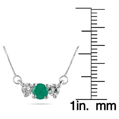 Emerald and Diamond Three Stone Pendant in 14K White Gold