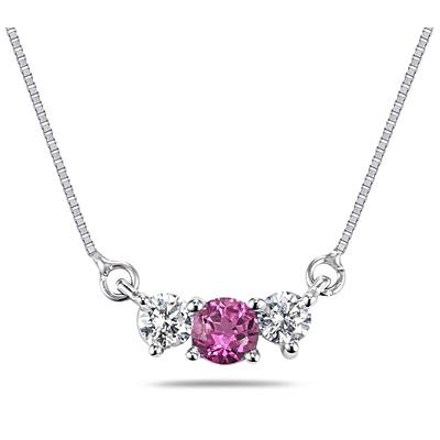 Pink Sapphire and Diamond Three Stone Pendant in 14K White Gold