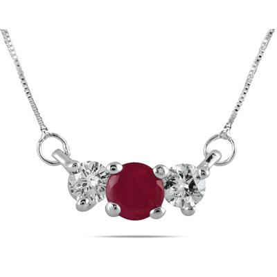 Ruby and Diamond Three Stone Pendant in 14K White Gold