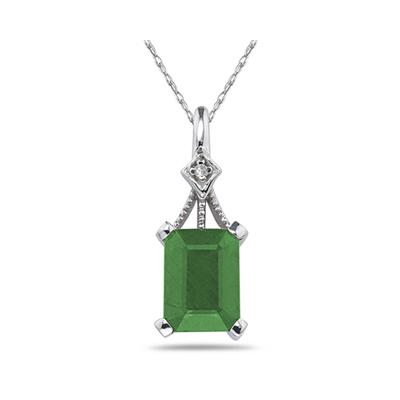 2.15 Carat Emerald Cut Emerald and Diamond Pendant in 14K White Gold