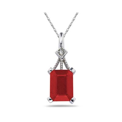 2.15 Carat Emerald Cut Ruby and Diamond in .925 Sterling Silver