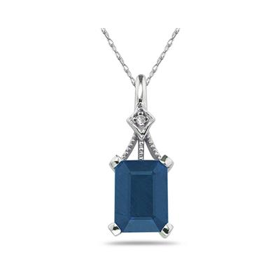 Emerald Cut Sapphire   and Diamond Pendant in White Gold