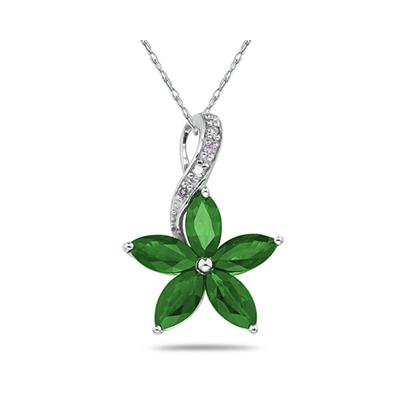 Emerald   and Diamond Flower Pendant in White Gold