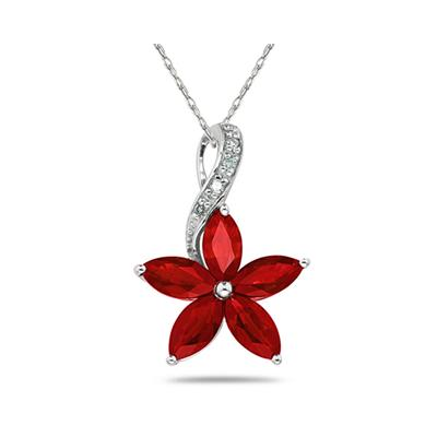 Ruby  and Diamond Flower Pendant in White Gold