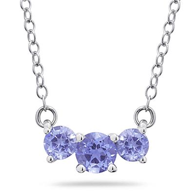1.00 CTW Tanzanite Three Stone Pendant Necklace 14K White Gold
