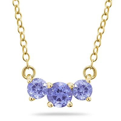 1.00 CTW Tanzanite Three Stone Pendant Necklace 14K Yellow Gold