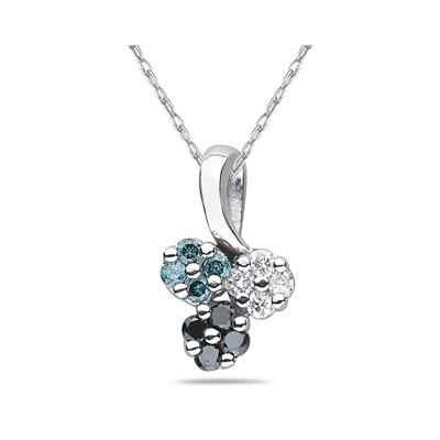 Black, White & Blue Diamond Flower Pendant in White Gold