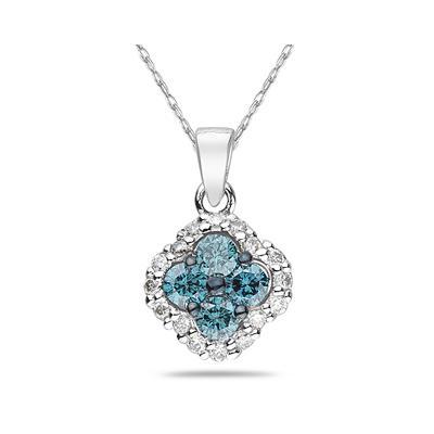 Blue and White Diamond Flower Pendant in 10K White Gold