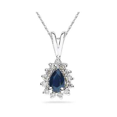 6X4mm Pear Shaped Sapphire and Diamond Flower Pendant in 14k White Gold