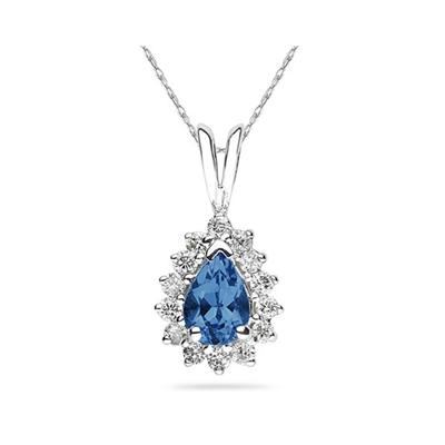 7X5mm Pear Shaped Sapphire and Diamond Flower Pendant in 14k White Gold