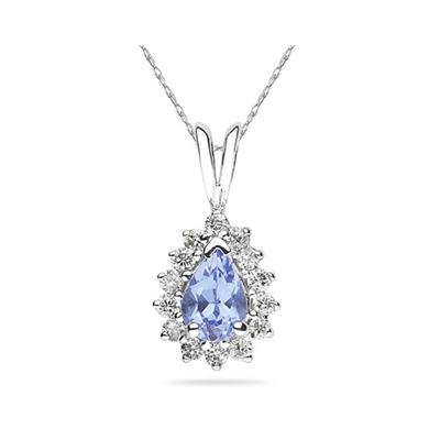 7X5mm Pear Shaped Tanzanite and Diamond Flower Pendant in 14k White Gold