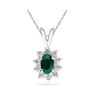 6X4mm Oval Shaped Emerald and Diamond Flower Pendant in 14k White Gold