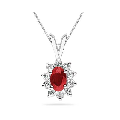6X4mm Oval Shaped Ruby and Diamond Flower Pendant in 14k White Gold