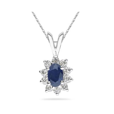 6X4mm Oval Shaped Sapphire and Diamond Flower Pendant in 14k White Gold