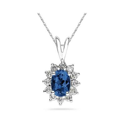 7X5mm Oval Shaped Sapphire and Diamond Flower Pendant in 14k White Gold