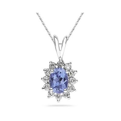 7X5mm Oval Shaped Tanzanite and Diamond Flower Pendant in 14k White Gold