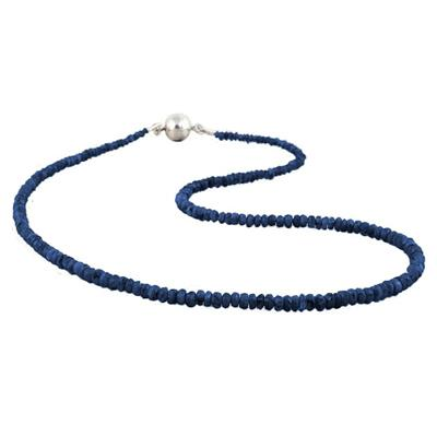 35 Carat All Natural September Sapphire Necklace with Magnetic Clasp