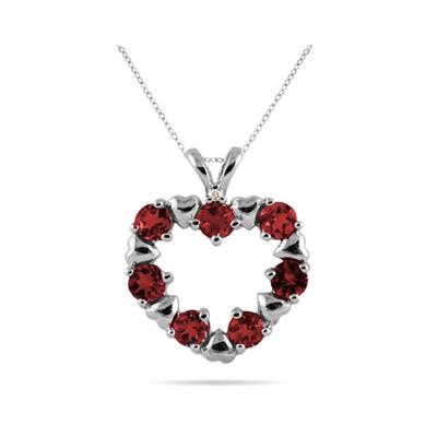 Diamond and Garnet Heart Pendant in 10kt White Gold