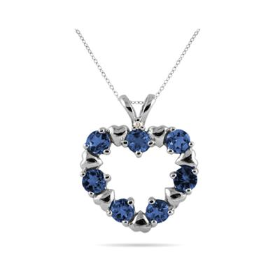 Diamond and Sapphire Heart Pendant in 10kt White Gold