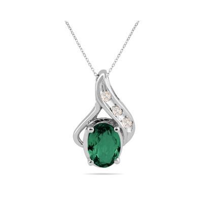 Emerald and Diamond Pendant in 10kt White Gold