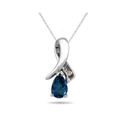 Sapphire and Diamond Pendant in 10kt White Gold