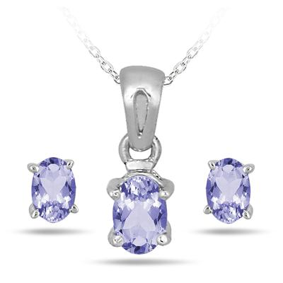 1.50 Carat Genuine Tanzanite Pendant and Earring Set in .925 Sterling Silver