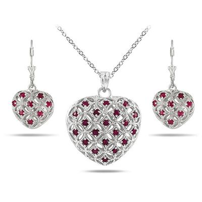 1.50 Carat Ruby Puff Heart Pendant and Earring Set in Solid .925 Sterling Silver