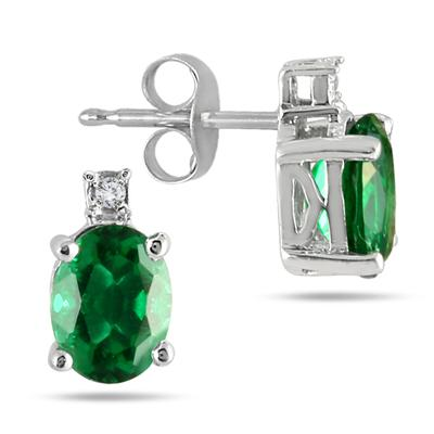 3.75 Carat Lab Created Emerald and Genuine Diamond Pendant and Earring Jewelry Set in .925 Sterling Silver