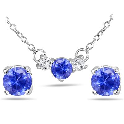 Lab Created Tanzanite and White Sapphire Earring and Pendant Set in .925 Sterling Silver