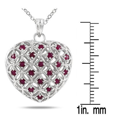 1.50 Carat Ruby Puff Heart Pendant and Earring Set in Rhodium Plated Brass