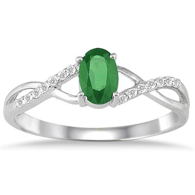 Emerald and Diamond Twist Ring in 10K White Gold