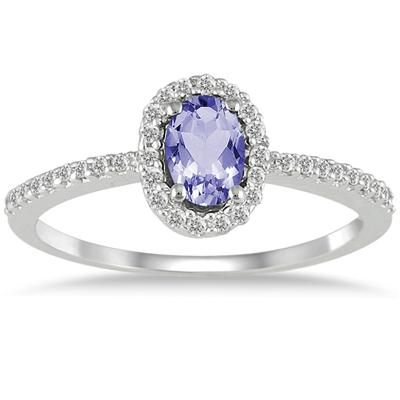 10K White Gold 1/5 Carat T.W Diamond and Tanzanite Ring