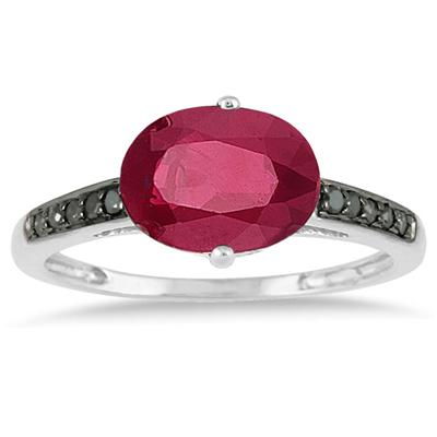 2.00 Carat Ruby and Black Diamond Ring in 10K White Gold