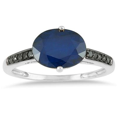 2.00 Carat Sapphire and Black Diamond Ring in 10K White Gold